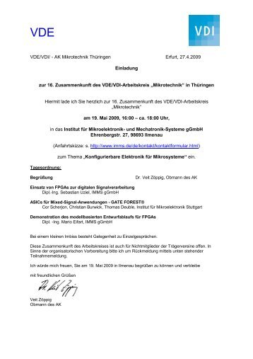 VDE/VDI/DVS- AK Mikrotechnik Thüringen Erfurt, 02 - Institut für ...