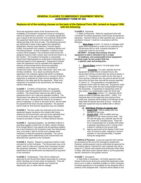 General Clauses To Emergency Equipment Rental Agreement Form