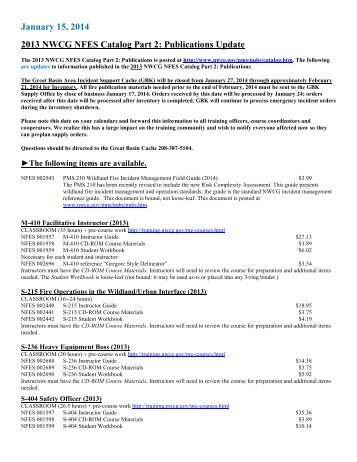 July 1, 2013 2013 NWCG NFES Catalog Part 2: Publications Update