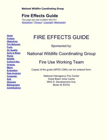 FIRE EFFECTS GUIDE - National Wildfire Coordinating Group