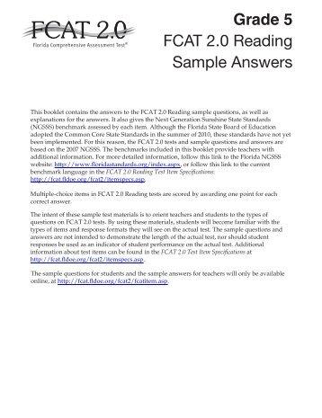 FCAT 2.0 Grade 5 Reading Sample Answers - Bureau of K-12 ...