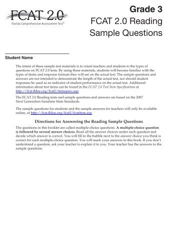 fcat essay questions What types of questions are on the fcat the fcat includes multiple-choice, gridded-response (fill in the blanks) and performance tasks (such as essays.