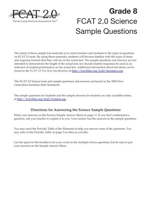 FCAT 2 0 2013 Grade 8 Science Sample Questions - Bureau of K