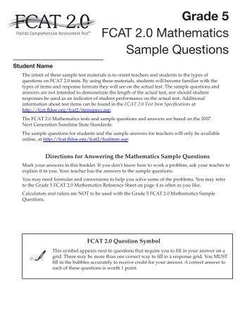 5th Grade Fsa Practice Questions - florida standards ...