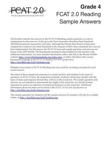 FCAT 2.0 Grade 4 Reading Sample Answers - Bureau of K-12 ...
