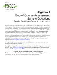 Algebra 1 EOC - Bureau of K-12 Assessment - Florida Department of ...