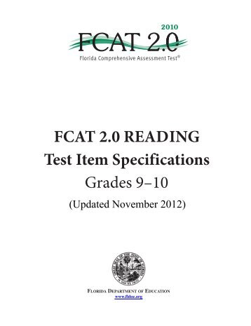FCAT 2.0 2010 Reading Test Item Specifications Grades 9-10