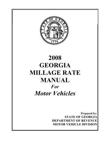 Georgia motor vehicle ad valorem assessment manual for Georgia bureau of motor vehicles
