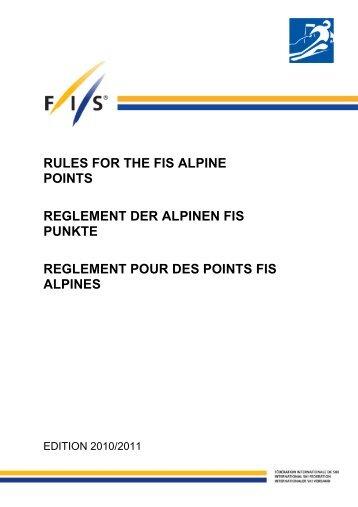 REGLEMENT FIS PUNKTE - International Ski Federation