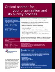 Critical content for your organization and its ... - Joint Commission