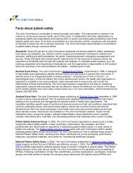 Facts about Patient Safety - Joint Commission