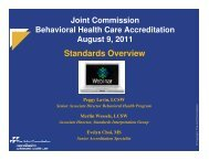 Behavioral Health Care Accreditation Standards ... - Joint Commission