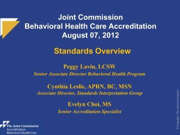 JC-Standards Overview Behavioral Health Care - Joint Commission