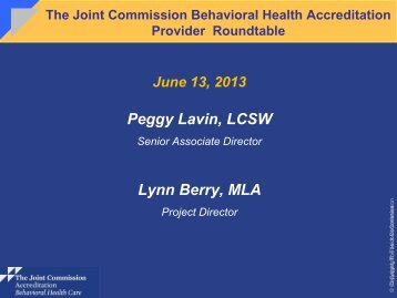 Behavioral Health Care - Joint Commission