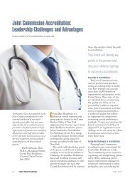 Joint Commission Accreditation: Leadership Challenges and ...