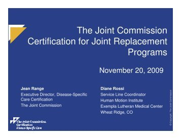 The Joint Commission Certification for Joint Replacement Programs