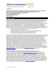 This newsletter is distributed to chief executive ... - Joint Commission