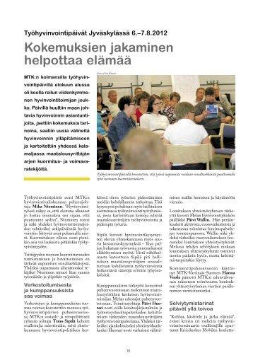 Kokemuksien jakaminen helpottaa elämää (MTK-Viesti 6/2012)