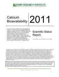 Scientific Status Report Calcium Bioavailability - National Dairy ...