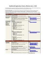 HealthierUS Application Criteria, Effective July 1, 2012