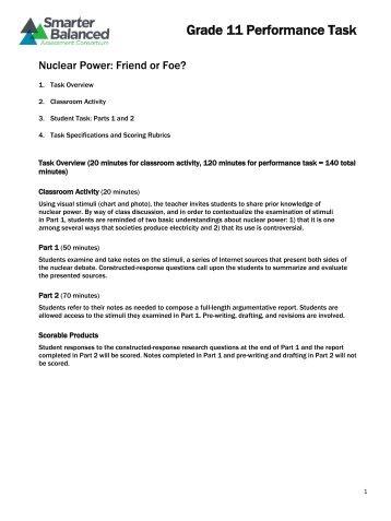 Grade 11 Performance Task - Smarter Balanced Assessment ...