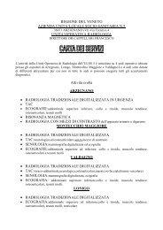 CARTA SERVIZI UNITA' OPERATIVA RADIOLOGIA - ULSS5
