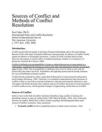 Sources of Conflict and Methods of Conflict Resolution - Ulster GAA