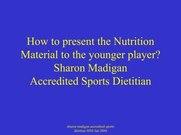 How to present the Nutrition Material to the younger ... - Ulster GAA