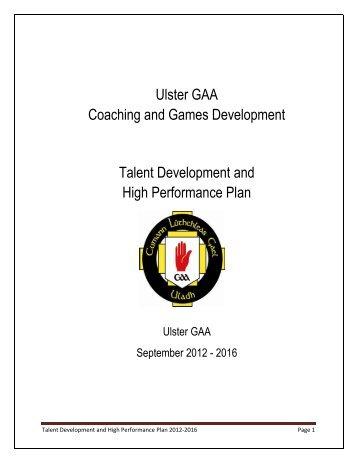 Ulster GAA Coaching and Games Development Talent Development ...