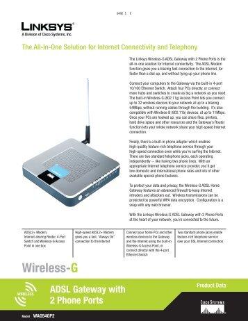 Wireless-G ADSL Gateway with 2 Phone Ports - Ultrative