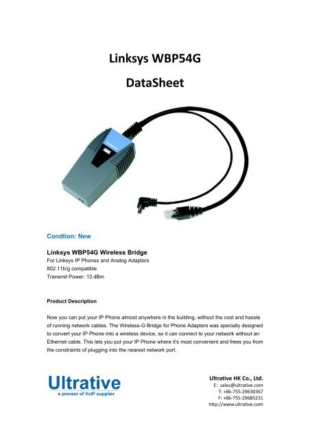 Linksys WBP54G DataSheet - Ultrative