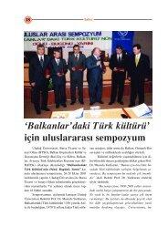 Balkanlardaki Türk Kültürü İçin Uluslararası Sempozyum