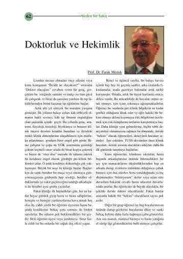 Doktorluk ve Hekimlik (Prof. Dr. Faruk Memik)
