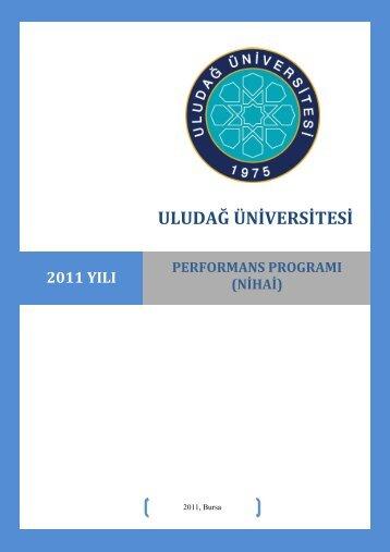 Performans Programı 2011 - Uludağ Üniversitesi
