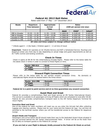 Federal Air 2008 Nett Rates valid from 1st January 2008 - Ulusaba