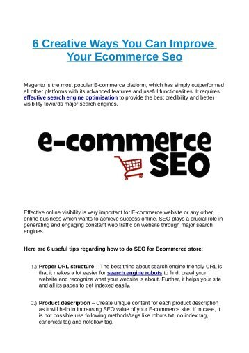 6 Creative Ways You Can Improve Your Ecommerce Seo
