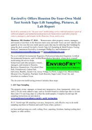 EnviroFry Offers Houston Do-Your-Own Mold Test Scotch Tape Lift Sampling, Pictures, & Lab Report