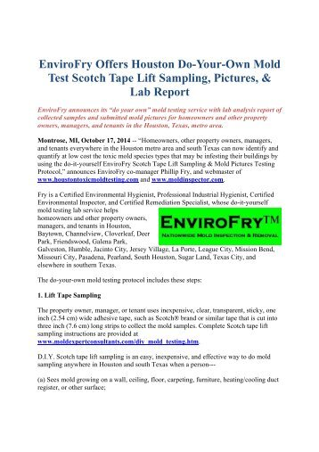 Envirofry offers portland do your own mold tests via scotch tape envirofry offers houston do your own mold test scotch tape lift sampling pictures solutioingenieria Image collections