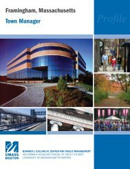 Framingham Town Manager profile - University of Massachusetts ...