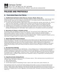 POLICIES AND PROTOCOLS Campus Center - University of ...