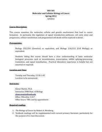 BIO 381 Molecular and Cellular Biology of Cancer - University of ...
