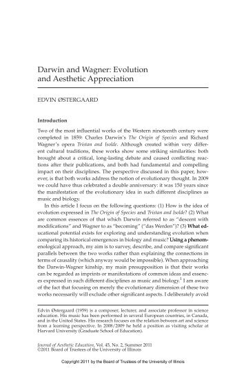 Darwin and Wagner: Evolution and Aesthetic Appreciation - UMB