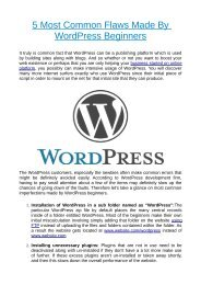 5 Most Common Flaws Made By WordPress Beginners