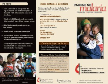 Imagine No Malaria Brochure - The United Methodist Church