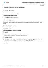 Subsidieaanvraag transitieproject 'Analyse van zorgbehoefte' - Umcg
