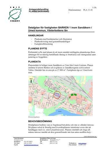 Detaljplan för fastigheten BARKEN 1 inom ... - Umeå kommun