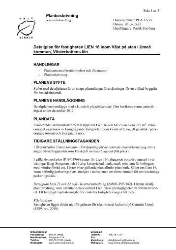 Planbeskrivning Detaljplan för fastigheten LIEN 16 ... - Umeå kommun