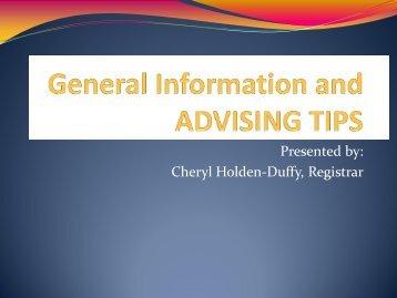 ADVISING TIPS