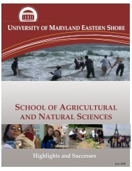 school of agricultural and natural sciences - University of Maryland ...