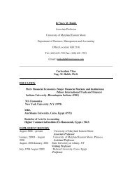Curriculum Vitae - University of Maryland Eastern Shore